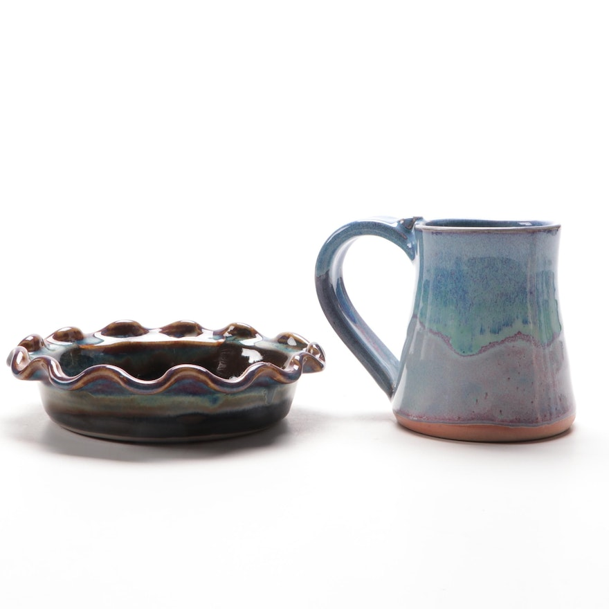 Berger Scalloped Edge Dish, and Other Art Pottery Mug, Contemporary