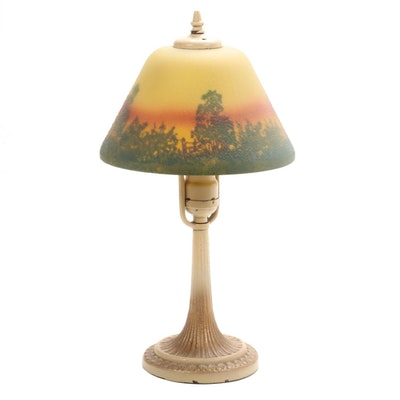 Cast Iron Table Lamp and Painted Glass Shade, 1920s