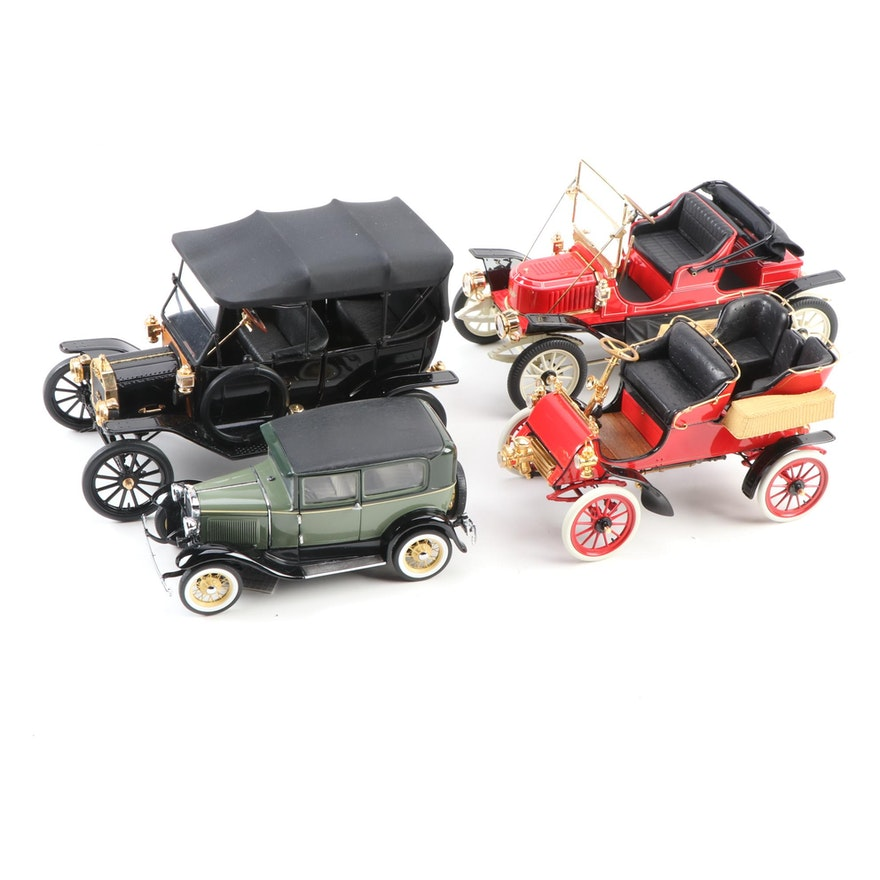 Franklin Mint Stanley Steamer and Ford Model A Cars with Original Packaging