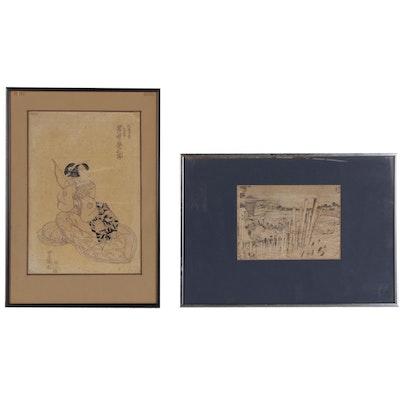 Woodblock after Katsushika Hokusai and Utagawa Toyokuni Woodblock, 19th Century