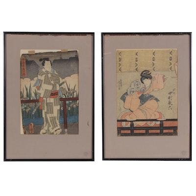 Utagawa Kunisada Woodblocks of Figural Scenes