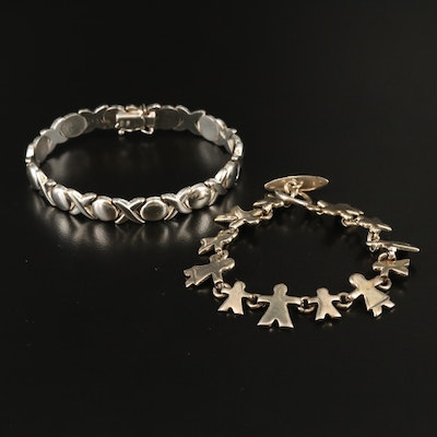 "Sterling ""XO"" and Figural Style Bracelets"