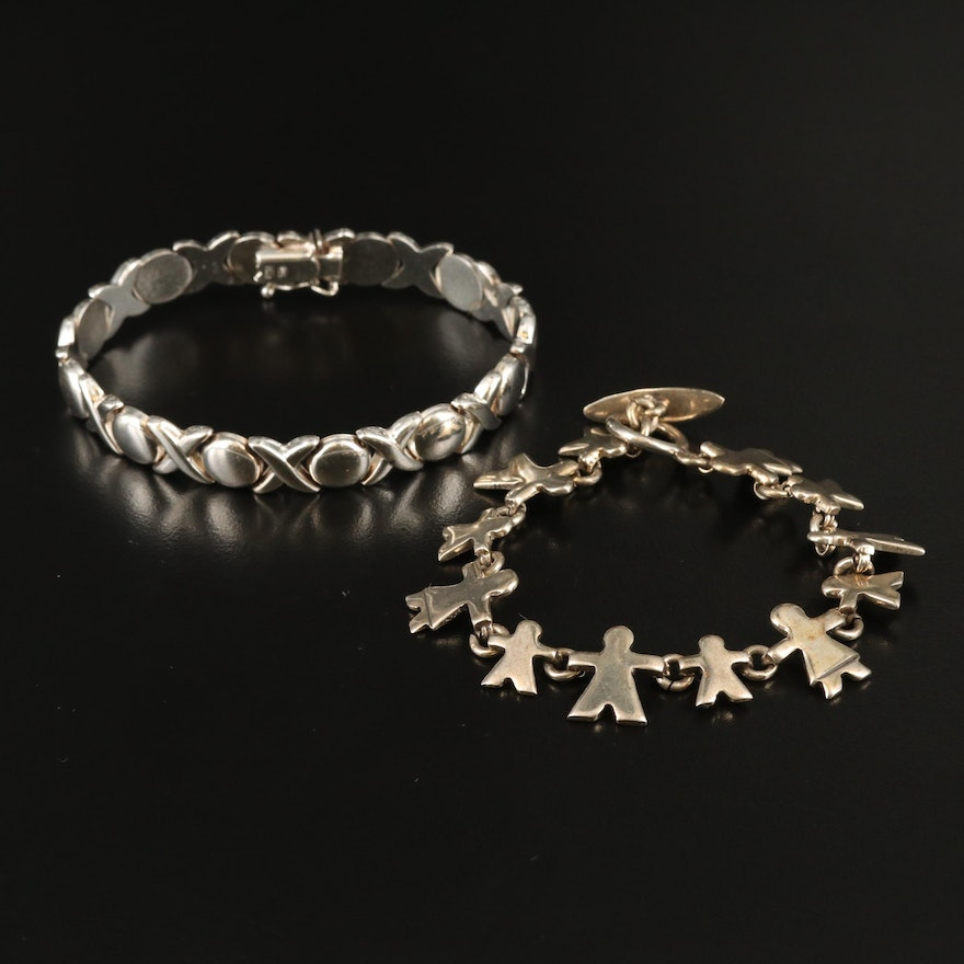 """Sterling """"XO"""" and Figural Style Bracelets"""