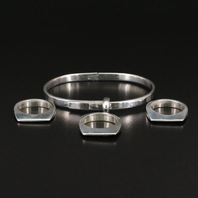 Sterling Silver Stackable Bands and Buckle Bracelet