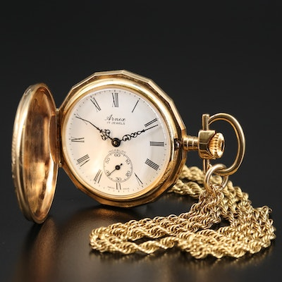 Vintage Arnex Gold Tone Pocket Watch with 14K Gold Filled Chain Fob
