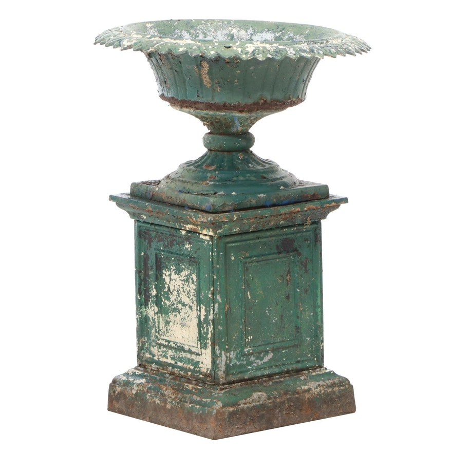 Painted Cast Iron Garden Urn, Late 19th/Early 20th Century