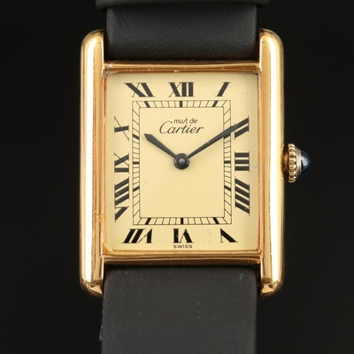 Cartier Tank Vermeil Stem Wind Wristwatch