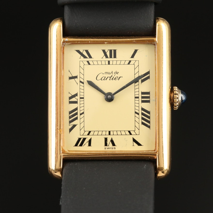 Cartier Tank Vermeil Stem Wind Wristwatch