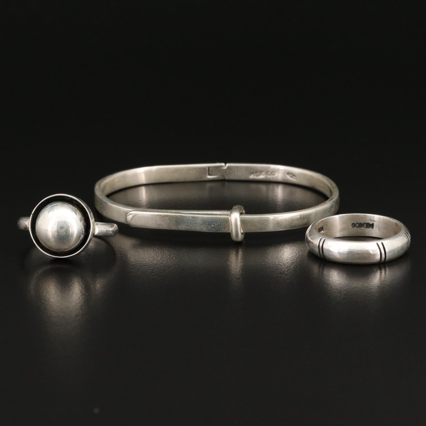 Sterling Silver Rings and Buckle Bangle