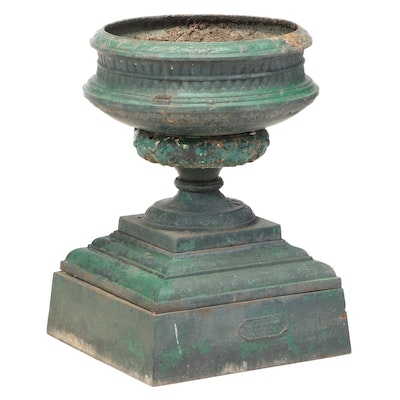Kramer Bros. Foundry Co. Painted Green Cast Iron Garden Urn
