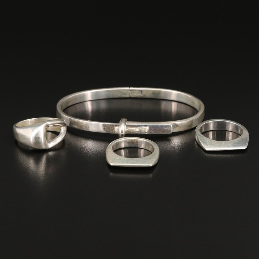 Sterling Buckle Hinged Bangle and Geometric Rings