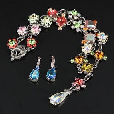 Rodrigo Otazu Rhinestone Flower Necklace and Earrings