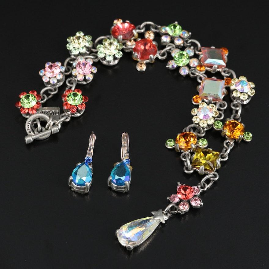 Rodrigo Otazu Rhinestone Flower Necklace and Earrings