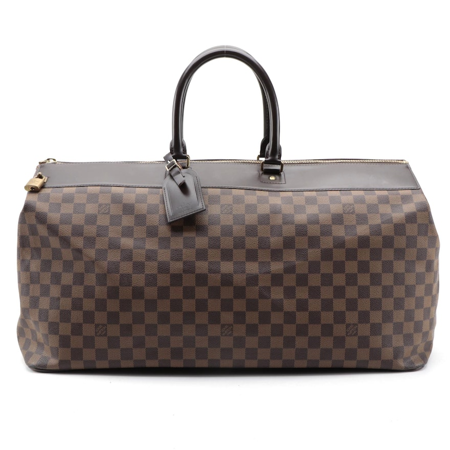 Louis Vuitton Greenwich Travel Bag in Damier Ebene Canvas with Leather Trim