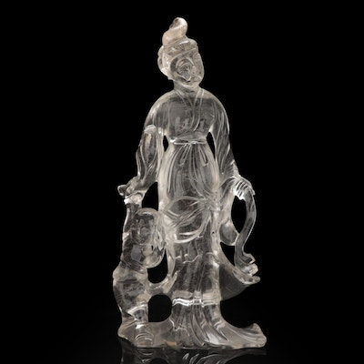 Chinese Carved Rock Crystal Quartz Guanyin with Child Figurine