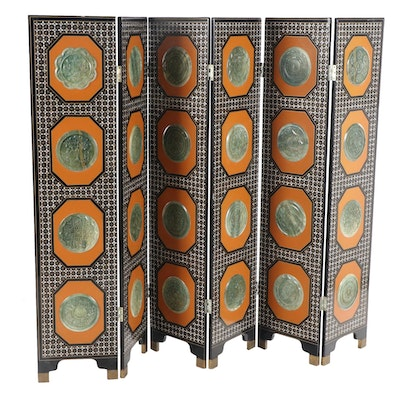 East Asian Six-Panel Screen w/Mother of Pearl Inlay & Imitation Jade Medallions