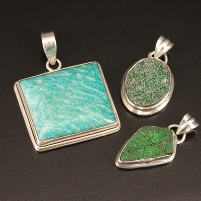 Sterling Silver Amazonite and Druzy Pendants
