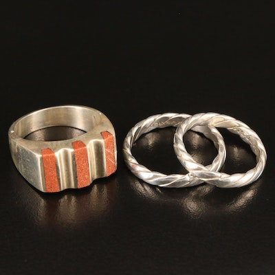 Mexican Sterling Silver Goldstone Glass Ring and Twisted Bands