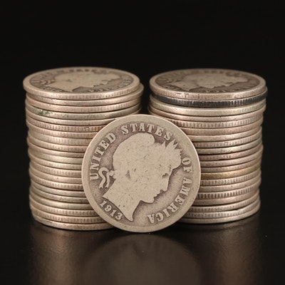 Forty-Two Circulated Barber Silver Dimes