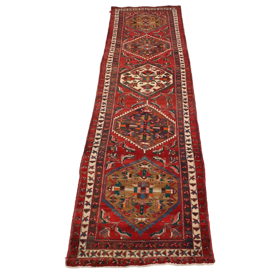 4'0 x 14'5 Hand-Knotted Persian Karaja Long Rug, Mid-Late 20th Century