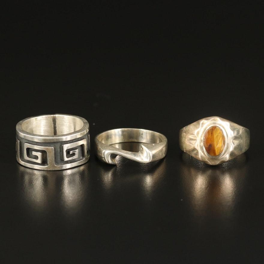 Sterling Tiger's Eye, Wave and Greek Key Rings
