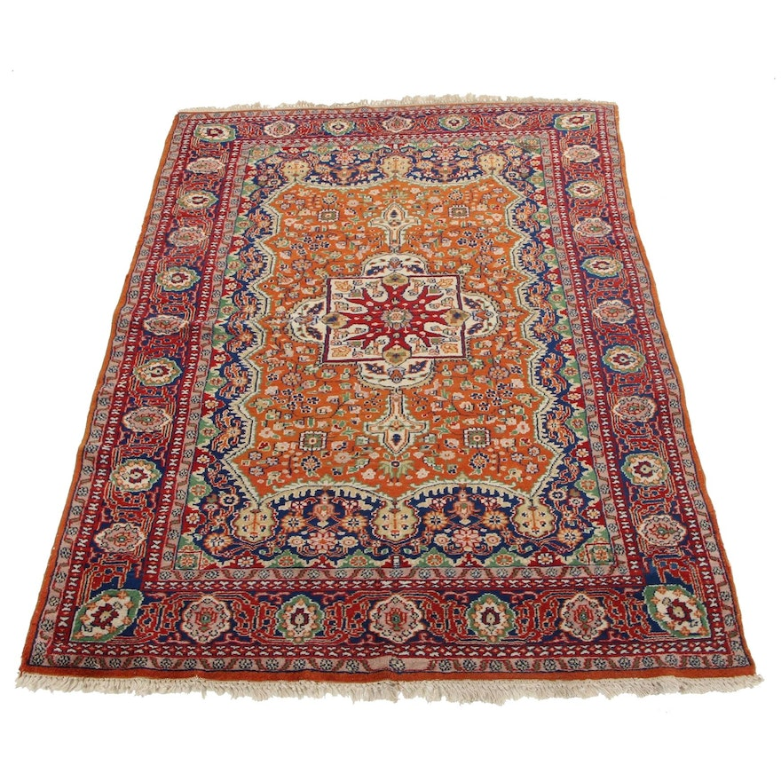 4'2 x 6'2 Hand-Knotted Sino-Persian Kerman Area Rug