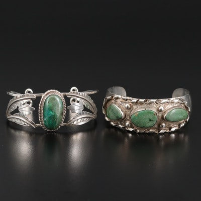 Mexican Sterling Silver Cuffs Featuring Art Plat Plata