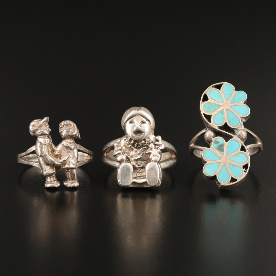 Sterling Rings Featuring Carol Felley, Los Ballesteros and Turquoise