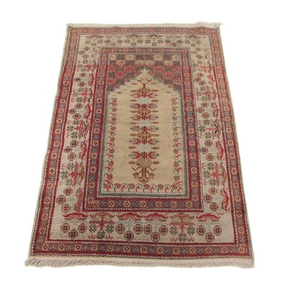 2'10 x 4'9 Hand-Knotted Turkish Silk Pile Prayer Rug