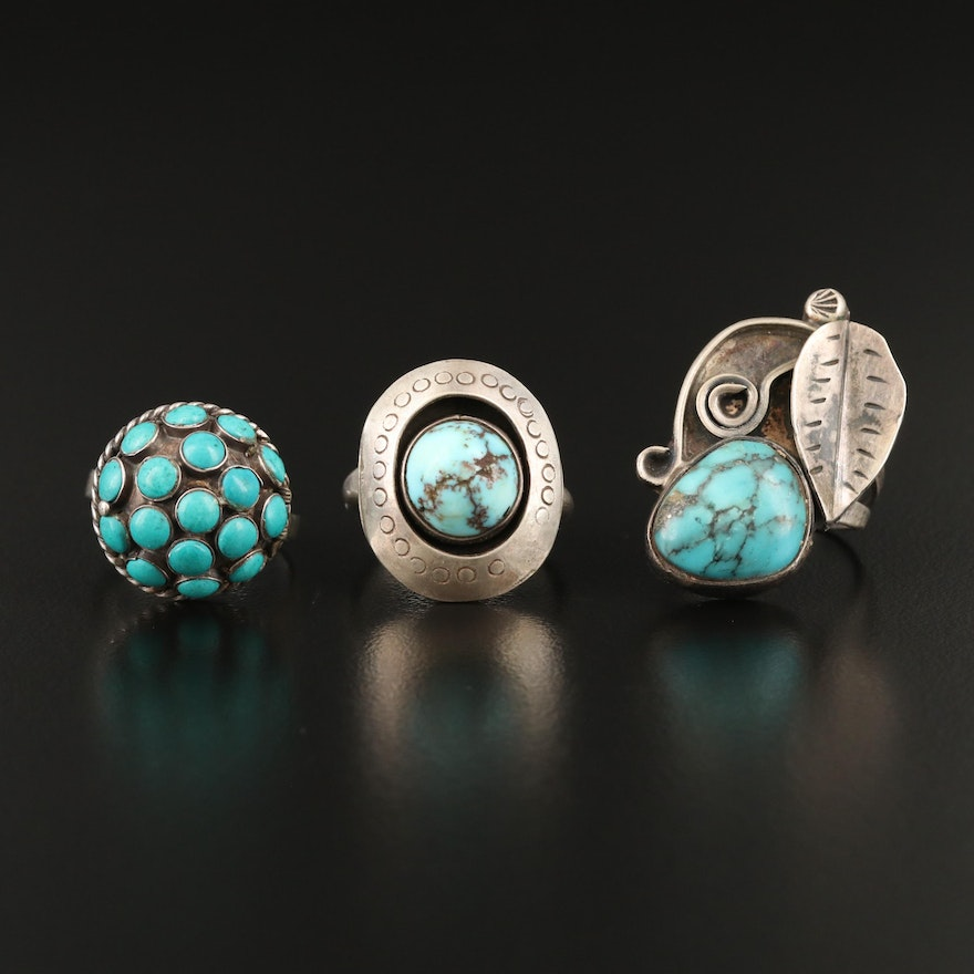 Southwestern Sterling Rings Including Turquoise and Faux Turquoise