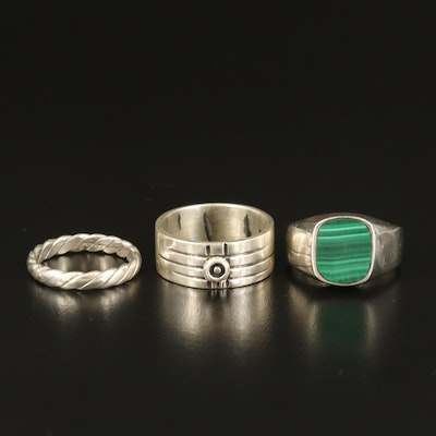 Sterling Rings with Malachite Inlay and Twisted Band