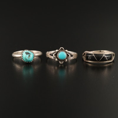 Sterling Rings Including Turquoise, Faux Black Onyx and Faux Turquoise