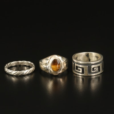 Sterling Tiger's Eye Ring with Greek Key and Twisted Bands