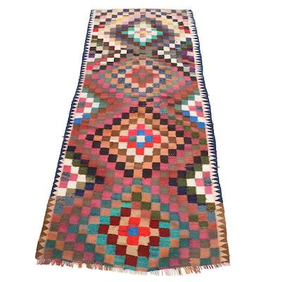 4'8 x 12'2 Handwoven Persian Kilim Rag Long Rug, Late 20th-21st Century