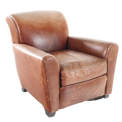 Mitchell Gold for Pottery Barn Art Deco Style Brown Leather Club Chair