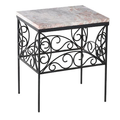 Iron and Variegated Marble Side Table