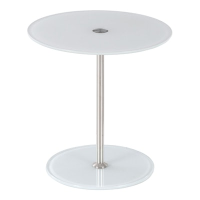 Modernist Style Chrome and Glass Adjustable Side Table
