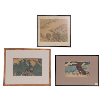 Japanese Woodblocks and Watercolor Painting of Landscapes, 19th Century