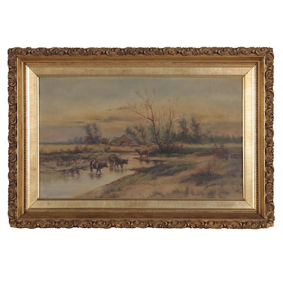 Dutch School Landscape Oil Painting of Cattle at the River, Late 19th Century
