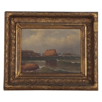 J.C. Durand Seascape Oil Painting of Sailing Ships, Late 19th Century