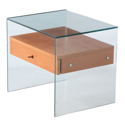 Modernist Style Beech and Glass Side Table