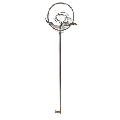 Copper and Gemstone Accented Floral Lawn Sprinkler Ornament