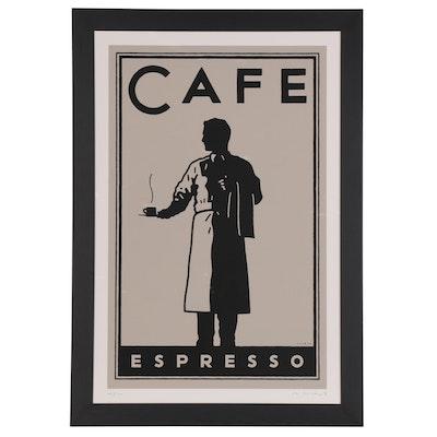 """Michael Schwab Serigraph """"Cafe Espresso,"""" 2003"""