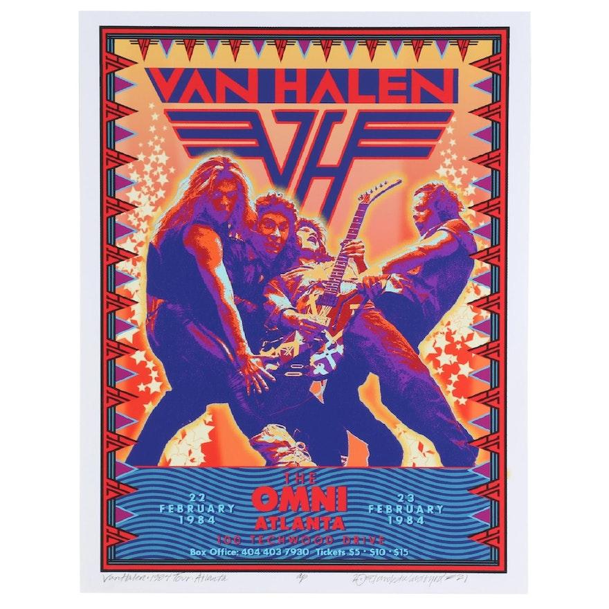 """David Edward Byrd Giclée """"Van Halen - 1984 Tour - Atlanta,"""" 2021"""