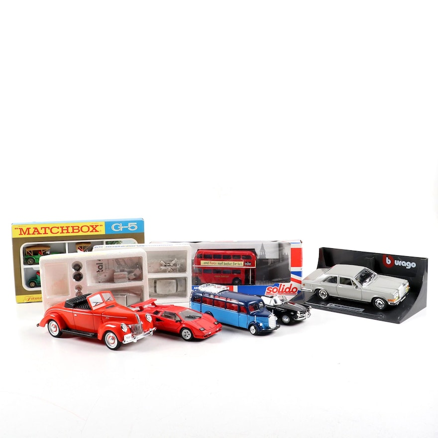 Lamborghini Countach, London Bus, and Other Diecast Model Cars