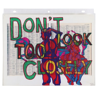 "David Grim Marker Drawing ""Don't Look Too Closely,"" 2007"