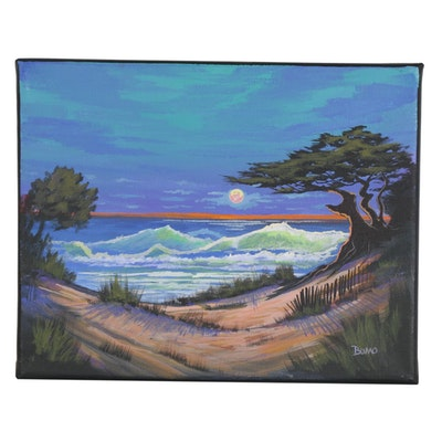 "Douglas ""Bumo"" Johnpeer Oil Painting ""Cypress Cove,"" 2021"