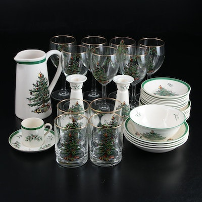 "Spode ""Christmas Tree"" Porcelain Dinnerware, Candlesticks and Wine Glasses"