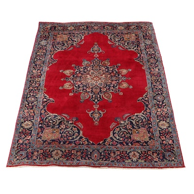 7'1 x 10'1 Hand-Knotted Persian Kerman Wool Area Rug