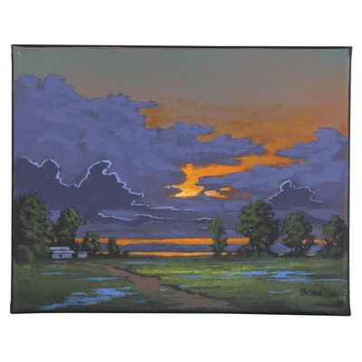 "Douglas ""Bumo"" Johnpeer Oil Painting ""Clear Lake Sunset,"" 2020"